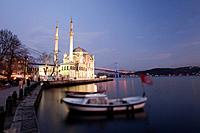 Ortakoy Mecidiye mosque and Bosphorus bridge, Istanbul, Turkey, Europe.
