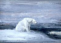 'Polar Bears watching for Seals at an Ice Hole', c1867-1910.