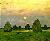 'Twilight, The Haystacks', 1899. Found in the collection of the State Tretyakov Gallery, Moscow.