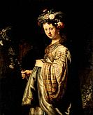 'Flora', 1634. Rembrandt van Rhijn (1606-1669). Found in the collection of the State Hermitage, St. Petersburg.