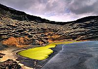 Green Lagoon on the island Lanzarote, Canary Islands, Spain.