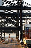 Container ship and container cranes, transferring cargo in container shipping terminal, Port of Tacoma, Washington USA.
