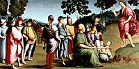 'Saint John the Baptist Preaching', 1505. This picture is one of the three paintings which formed the predella for Raphael's altarpiece the 'Ansidei M...