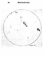Galileo's observation of sunspots. From Galileo Galilei Istoria!, Rome, 1613. Engraving.