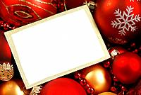 Christmas ornaments and blank white card background.