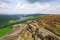 Bamford Edge and Ladybower Reservoir, Peak District National Park, Derbyshire, England, UK.