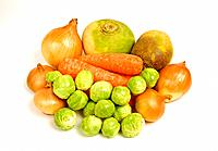 Vegetables. Seen here are carrots, turnip, swede, onions, shallots and brussels sprouts.