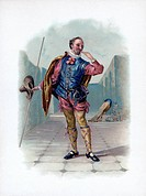 'Malvolio', 1891. Malvolio, a character from Twelfth Night, wearing cross garters. A colour lithograph from Shakespeare's Heroes and Heroines after Si...