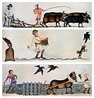 Ploughing, sowing, and harrowing, c1300-1340, (c1900-1920). Scenes from the Luttrell Psalter. A print from Art History and Literature Illustrations, b...