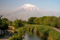 Mt Ararat, seen from countryside north of Yerevan, Armenia, but just across the Turkish border.