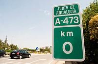 Traffic plate in Benacazon. Seville. Spain.