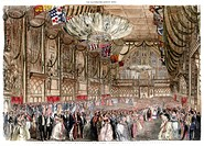 Procession of her majesty to the state ball in the Guildhall, 1851. From The Illustrated London News (12 July 1851). Hand coloured later.
