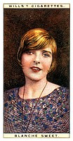Blanche Sweet (1896-1986), American actress, 1928. Number 23 (of 25) in the second set of WD & HO Wills' Cigarette Cards entitled Cinema Stars (1928).