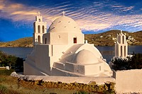 The Byzantine church of Agia Irene on the harbour of Ormos, Ios, Cyclades Islands, Greece.