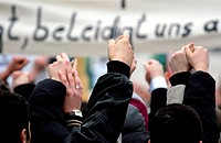 Muslims demonstrating against the Mohammed drawings in front of the danish embassy.  - BERLIN, BERLIN, GERMANY, 11/02/2006
