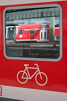 Bike sign on train