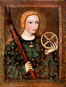 'St Catherine', 1365-1367 (1955). St Catherine, martyred early in the 4th century, depicted holding a wheel. She was intended to be executed on an ins...
