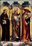 'St Giles, St Gregory, and St Jerome', c1380 (1955). Found in the collection of The National Gallery in Prague. A print from Gothic Painting in Bohemi...