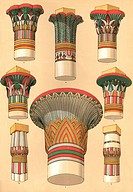 Egyptian designs for palm columns, usually found in temples.