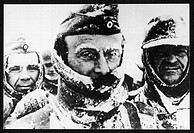 German troops in the winter of 1944, when snow covered their uniforms and froze on their eyebrows.