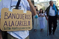 Date :19-06-2011 In Lugo, 15M slaves march. Call indignados movement state, coinciding with the celebrations of Arde Lucus, protesters slave dress. Ar...