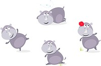 Cute happy Rhinoceros in four poses