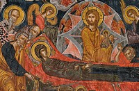 Greece, Thessaly, Meteora, World Heritage Site, Varlaam monastery, The Katholikon (church), Dormition of the Virgin, Fresco by Frangos Katelanos (1548...