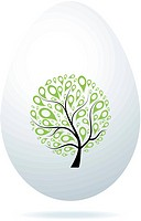 Easter egg white with art tree for your design