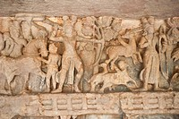Details of carvings at an archaeological site, Udayagiri and Khandagiri Caves, Bhubaneswar, Orissa, India