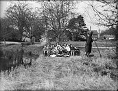 Children being taught in the open air at a school in Jersey, Channel Islands.