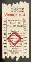 Platform ticket issued by British Rail at Victoria Station, London, entitling the purchaser to go onto the platform of their choice, but not to travel...