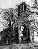 The ruins of Haughton Chapel, near Retford, Nottinghamshire, England. Building began in the late 11th century, with enhancements and additions up to t...