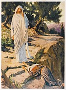 Mary Magdalen sees the risen Jesus, but at first mistakes him for a gardener.