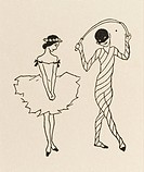 A little ballerina looks coyly at a pierrot-type figure in this quirky drawing.