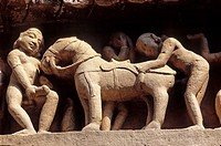 Erotic sculptures, Khajuraho Group of Monuments, UNESCO World Heritage Site, Madhya Pradesh, India, Asia.