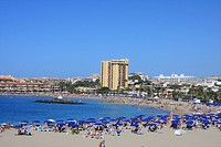 Spain, Europe, Canary islands, Tenerife, Los Cristianos, palms, beach, seashore, Playa de las Vistas, tourism