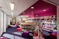 colourful school library at Cranford Park Infant School.