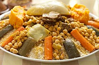Moroccan couscous dish close up.