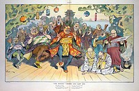The Mikado - second and last act. Illustration shows Theodore Roosevelt as Mikado Roosevelt with a large cast of characters, including Pish Tush Root ...