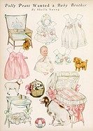 Cut out paper doll from a series about the life of a little girl called Polly Pratt. This one features Polly's new baby sister complete with all her i...