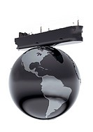 CGI oil tanker on globe with crude oil texture USA prominent