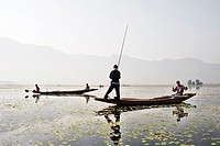 Fishermen on Dal Lake.