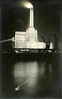 Battersea Power Station, London - on the banks of the River Thames - built in two phases. This is the coal-fired power station in 1934, with the first...