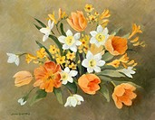 Orange Tulips, Narcissi, Jonquils and Freesia û orange, yellow and white flowers