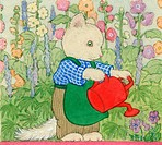 William has a watering can û white cat with red watering can in a garden watering the flowers