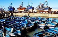 Sardine boats moored in Essaouira harbour, Morocco, North Africa.