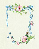 Roses and forget-me-nots with blue ribbon