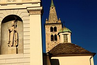 Church in Aosta, Aosta valley, Alps mountains, Italy