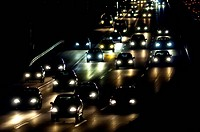 Rush hour on highway at night