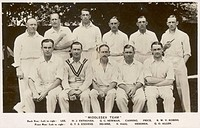 Middlesex Cricket Team, 1930s showing Lee, H.J. Enthoven, G.C. Newman, Canning, Price, R.W.V. Robins, G.T.S. Stevens, Hearne,N. Haig, Hendren, G.O. Al...